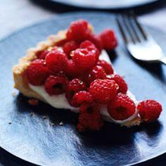 Raspberry Crème Frache Tart with Lavender Honey