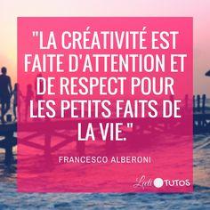 """""""La créativité est faite d'attention et de respect pour les petits faits de la vie."""" - Francesco Alberoni #créativité #inspiration #citation #citations #citationdujour #france #quote #followme #quoteoftheday"""