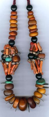 Africa | Berber necklace from the Dra region of Morocco | Branch coral, amber, amazonite, coins, jet and shells | Sold | © Linda Pastorino