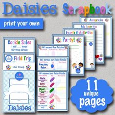 Girl Scouts: Daisies Scrapbook Pages Set!  11 unique pages. Great gift for Daisies or a project they can do before they become Brownies!