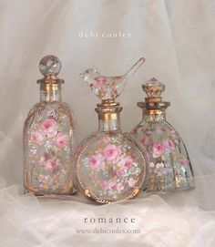 So beautiful and so romantic! My hand painted French Blush Roses Fleur de lis Perfume bottles are available at www.debicoules.com