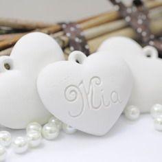 Gessetti profumati,bomboniera cuore di gesso personalizzato nome segnaposto,matrimonio ,battesimo,comunione,cresima,laurea