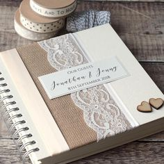 Hessian & Lace Personalised Wedding Guest Book. Handmade with