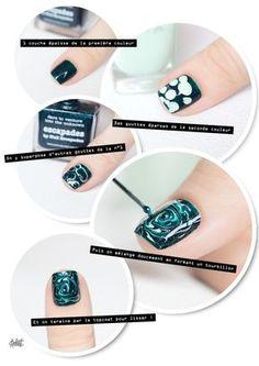 [un autre de mes favoris] DRY MARBLE nail art tutotrial