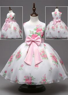 In Stock Attractive Satin Jewel Neckline Floral Ball Gown Flower Girl Dresses With Bowknot