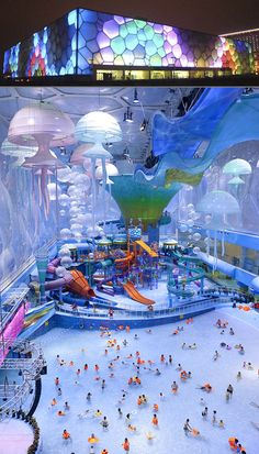The World's Coolest Indoor Water Parks Officially known as the Beijing Water Cube Water Park, Happy Magic is part of the National Aquatics Center and is now Beijing's most visited tourist spot after the Great Wall. Thanks to a major renovation in the Beautiful Places To Travel, Cool Places To Visit, Places To Go, Amazing Places, It's Amazing, Vacation Places, Dream Vacations, Vacation Travel, Texas Travel