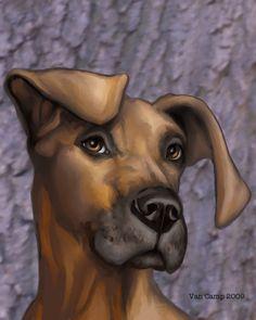 Great Dane One Dog portrait, whimsical fantasy wall decor art by Susan ...