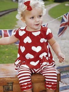 Red and white outfit - hearts top for toddler