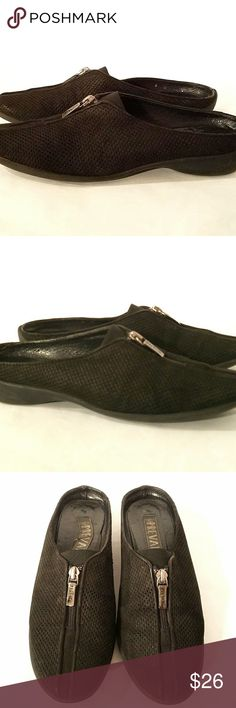 PREVATA Black Suede Mules Sz 8 Slip On Shoes Elegant Preveta black suede slip-on mules. Vented design and Made in Italy. In good condition.  If you have any questions, please don't hesitate to contact me BEFORE your purchase as I am here to facilitate your transaction.   Thanks so much for looking and please feel free to check out my other listings.  Lisandra McGrath Prevata Shoes Mules & Clogs