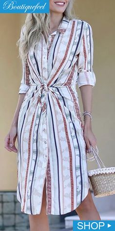 Shop Striped Knotted Front Shirt Dress right now, get great deals at pickmyboutique Pinterest Fashion, Pattern Fashion, Casual Dresses, Bodycon Dress, Shirt Dress, Wrap Dress, Clothes For Women, Womens Fashion, Sleeves