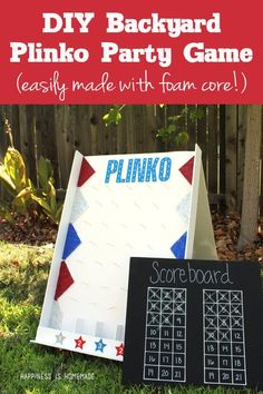 DIY Backyard Plinko Party Game Make a fun backyard Plinko game that is perfect for parties, carnivals or school spirit activities! Easily made with Elmer's Foam Board! Diy Yard Games, Diy Games, Backyard Games, Party Games, Lawn Games, Backyard Ideas, Plinko Game, Plinko Board, Cool Diy