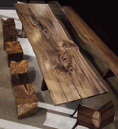 Mesa comedor trozo madera rustica