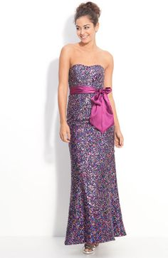 Accidentally in Love Strapless Confetti Sequin Gown