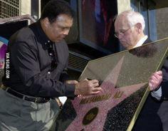 The only Walk of Fame star hanging on a wall, so the prophet Muhammad's name would not be trampled upon, by Ali's request. Hollywood High School, Hollywood Walk Of Fame, In Hollywood, Celebrities Then And Now, Black Celebrities, Celebs, Muhammad Ali, Prophet Muhammad, Celebrity
