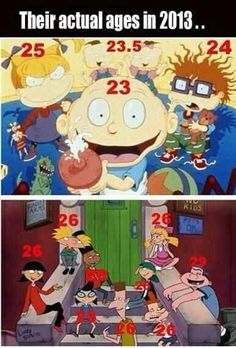 """2013 """"Hey Arnold!"""" & """"Rugrats"""" ages. Sweet! I could marry Arnold! lol"""