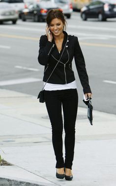 All black - my favorite done right by Audrina with the moto jacket and heels