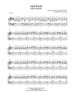 Mad World by Gary Jules Piano Sheet Music | Rookie Level
