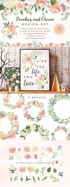 Gorgeous Peaches and Cream Floral set.. love.