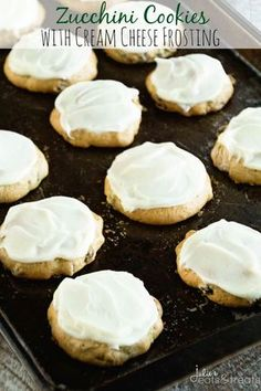 Zucchini Cookies with Cream Cheese Frosting Recipe ~ Soft, Delicious Cookies Stuffed with Zucchini and Raisins then Frosted with Cream Cheese Frosting! ~ https://www.julieseatsandtreats.com
