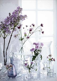 I love small branches and single stems in various crystal glasses