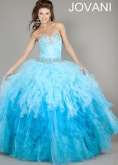 Jovani strapless blue ombre ball gown