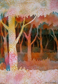 Watercolor Project:  Negative Painting of Trees -I LOVELOVE IT!