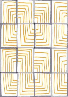 Lucy Auge - Motif imrpimé gris et jaune - Printed grey and yellow lines