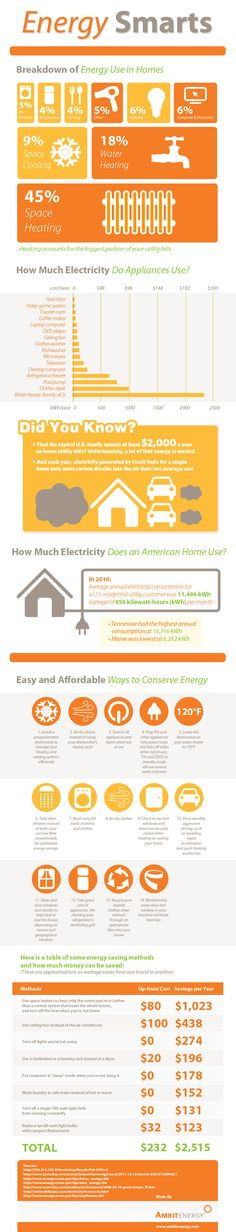 This infographic by Ambit Energy illustrates typical home energy use, as well as some simple ways to conserve. It may help you reduce your carbon footprint, increase your energy smarts and saved money in the process. Solar Panel Cost, Solar Panels For Home, Energy Efficient Homes, Energy Efficiency, Energy Use, Save Energy, Renewable Energy, Solar Energy, Solar Power