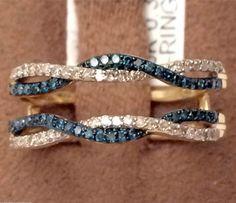 10kt Yellow Gold Wave Design Solitaire Enhancer Blue Diamonds Ring Guard Wrap Jacket(0.33ct. tw)- RG221550789482