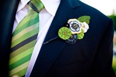 green and blue fabric boutonniere