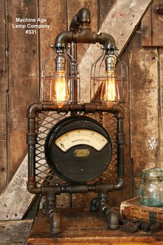 Steampunk Industrial Lamp, Antique AC Meter #331