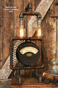 Steampunk Industrial Lamp, Antique AC Meter #331
