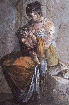 ROMA FRESCO QUE REPRESENTA A UNA NINFA CON DIONISOS NIÑO VILLA DE FARNES EN ROMA,