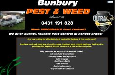 http://bunburypestandweed.net.au/ A local pest control business in Bunbury, Western Australia. Specialising in providing honest, affordable and reliable service to the greater Bunbury Region. Services include all general household and commercial pest control, Termite inspections, Termite control as well as residential and commercial weed spraying.
