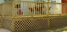 Watch this video for tips on how to cut and attach pressure treated wood lattice panels around a wood deck foundation.
