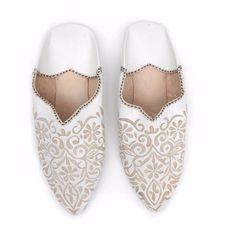 Decorative Babouche Slippers White (40) | Bohemia | Wolf & Badger