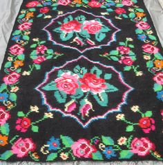 Antique Romanian traditional flat weave wool kilim, carpet, rug from Transylvania . At www,greatblouses.com Rugs On Carpet, Bohemian Rug, Hand Weaving, Kids Rugs, Traditional, Wool, Antiques, Weave, Crafts