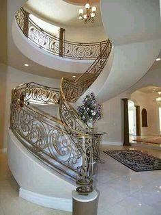 9321 Canyon Classic - Well Designed Stairs - Luxury Las Vegas Homes Grand Staircase, Staircase Design, Luxury Staircase, White Staircase, House Staircase, Entry Stairs, Spiral Staircase, Interior Architecture, Interior And Exterior