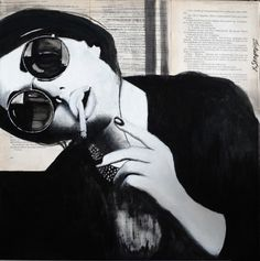 Barcelona by Konstantinos Skopelitis. A stunning original #portrait collage on old book pages. This black and white monochrome painting will look stunning in your home. Available on FineArtSeen l The Home Of Original Art.