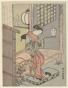 Suzuki Harunobu   Young Woman with a Lantern, Suzuki Harunobu, 1765 - 1770   Jonge vrouw met lantaarn in linker hand, van de veranda af in haar schoenen stappend; achter haar een kamer met staande lantaarn; bij schemering.