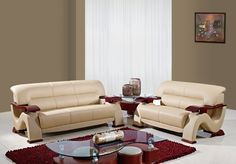 2033 Cappuccino Leather Sectional Sofa
