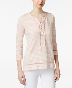 Style & Co. Striped Lace Up Top, Only at Macy's
