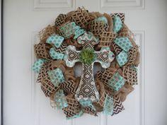 Elegant Turquoise Cross Burlap Wreath by WreathsbyKelsey on Etsy