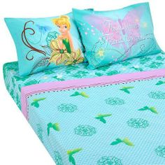 """Disney Fairies Tinkerbell Butterfly Glow 4pc Full Size Premium Sheets Set by Disney. $28.19. Ages 3 and up. 200 thread count. Machine washable. Made from 60% cotton and 40% Polyester. 4 Piece set includes - 1 flat sheet, 1 fitted sheet, 2 pillowcases. This beautiful Disney Fairies Butterfly Glow Premium Full Sheet Set, Blue, 200 Thread Count Cotton/Polyester, Features TinkerBell and her friends, Butterflies and Flowers.Includes 81"""" x 96"""" Flat Sheet, 54"""" x 75"""" x 10"""" Fitted sheet,..."""