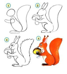 Easy Painting and Drawings for Kids. SQUIRREL, Step by Step Instructions / How to Draw. Painting and Drawing for Kids Realistic Drawings, Cartoon Drawings, Easy Drawings, Animal Drawings, Drawing Sketches, Drawing Animals, Easy Drawing Steps, Step By Step Drawing, Drawing Lessons