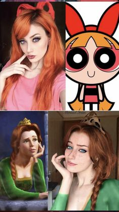 Power Puff Girls and Princess Fiona make-up Cute Costumes, Couple Halloween Costumes, Halloween Cosplay, Halloween Outfits, Costumes For Women, Halloween Costumes For Redheads, Cartoon Costumes, Epic Cosplay, Amazing Cosplay