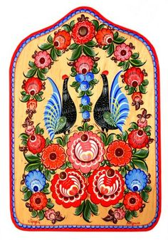 Folk Gorodets painting from Russia. Floral pattern with two cocks. #art #folk…