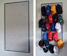 DIY: Pegboard Baseball Cap Organizer - The perfect 'home' for the hat collection. Do It Yourself Tutorial @ www.jennaburger.com