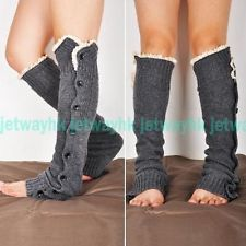 e5915fa03 Cream Crochet Lace Trim Button Down Wool Leg Warmers Boot Socks Knee High  Grey
