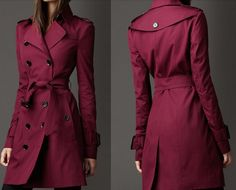 Lovely British-Style Double-Breasted Belted Trench Coat 3 Colors S-2XL